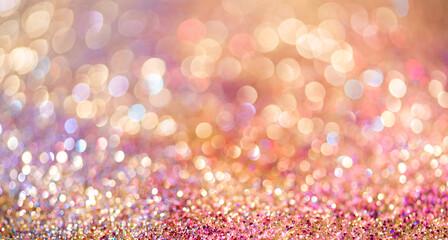 Obraz Glitter Gold Bokeh Colorfull Blurred Abstract Background Anniversary - fototapety do salonu