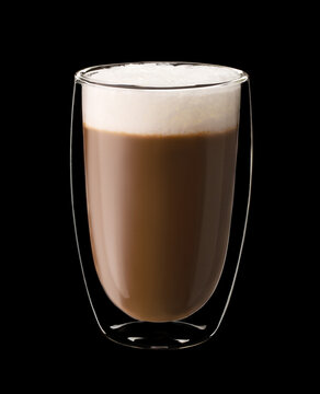 Coffee glass with cappuccino isolated on black background