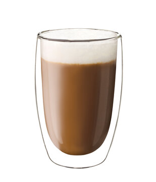 Coffee glass with cappuccino isolated on white background