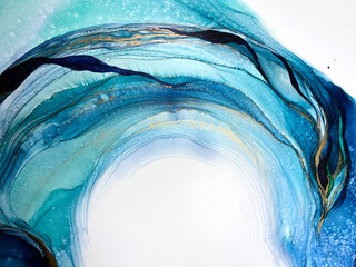 Abstract blue with green background. Beautiful pleats and stains made with alcohol ink and gold...