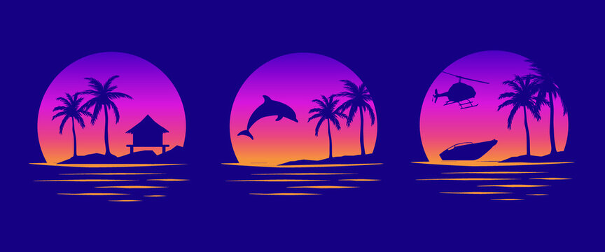 Beaches, dolphins and boats. Miami California Hawaii design. Old school tattoo vector art. Red Sunsets with sillhouettes | Vector Graphics for apparel t-shirt