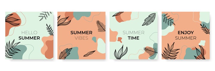 Obraz Social media stories and post creative Vector set. Background template with copy space for text and images design by abstract colored shapes, line arts , Tropical leaves warm color of the earth tone  - fototapety do salonu