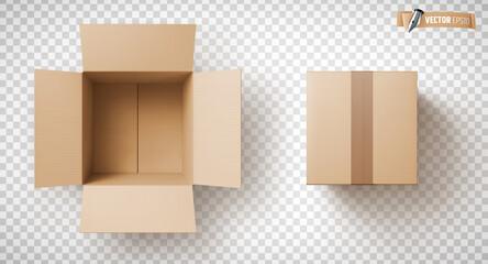 Fototapeta Boîtes en carton vectorielles sur fond transparent obraz