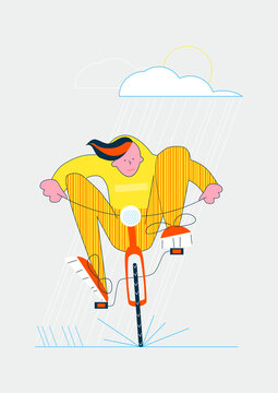 Teenager riding a bike in the rain. Simple flat vector illustration.