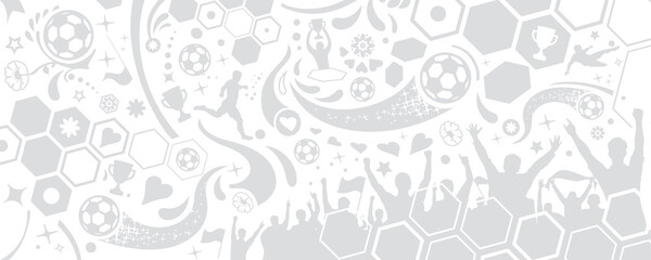 ARRIÈRE-PLAN SILHOUETTES FOOTBALL gris neutre sans fond - fototapety na wymiar
