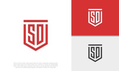Fototapeta Initials SO. SD logo design. Initial Letter Logo. Shield logo.  obraz
