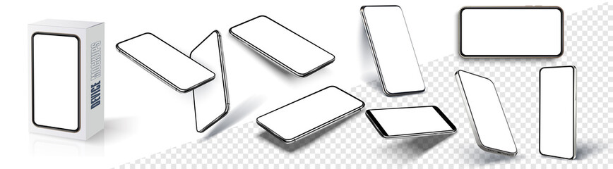 Fototapeta Realistic smartphone mockup. Device UI, UX, mockup for presentation template. Cellphone frame with blank display isolated templates, phone different angles views. 3d isometric illustration cell phone obraz