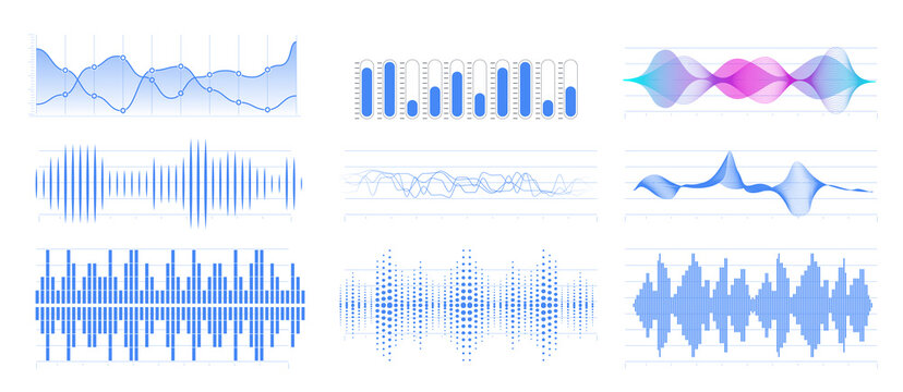 Graphic of amplitude or audio range effect. Chart of sound wave isolated on white background. Sound waves equalizer. Lie detector. Digital soundwave, vibrations amplitude. Vector illustration