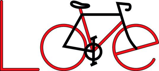 Cycling love icon logo