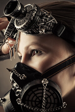 woman face profile in steampunk mask