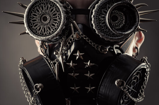 steampunk mask with spikes close up