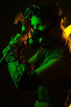 woman in gas mask steampunk in neon light