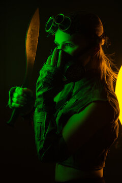 woman miner in steampunk mask with kukri