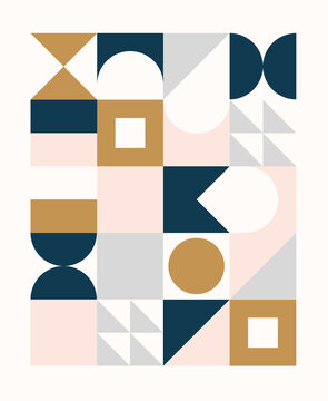 Colorful geometric pattern in Scandinavian style. Minimal geometric shapes compositions.