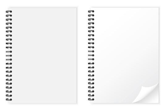 Realistic white notepad. White notebook mockup isolated. Business concept. Stock image. Vector illustration.