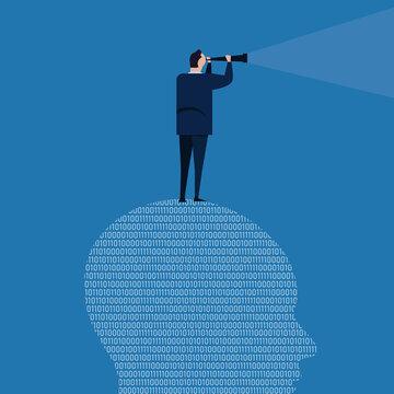 digital vision looking future futuristic leader information technology binary code business telescope