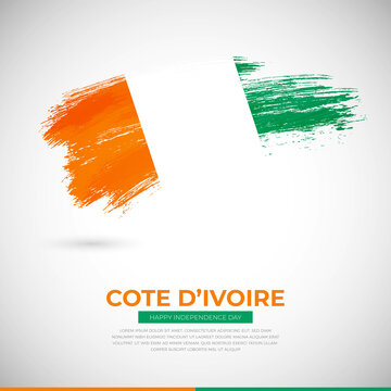 Happy independence day of Cote dIvoire country. Creative grunge brush of Cote dIvoire flag illustration