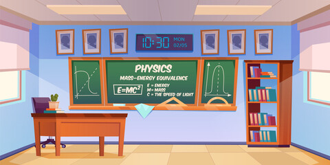 Fototapeta Classroom for physics learning with formula and graph on chalkboard. Vector cartoon illustration of empty school class interior with teacher desk, blackboard and bookcase obraz