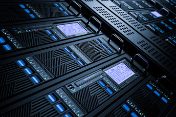 Obraz Server data center racks in server room 3D - fototapety do salonu