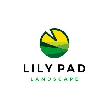 lily pad landscape landscaping logo vector icon illustration