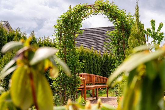 Traumhaft schöner, grüner Garten mit Rosenbogen, Koniferen und Holzbank