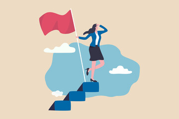 Obraz Success female entrepreneur, woman leadership or challenge and achievement concept, success businesswoman on top of career staircase holding winning flag looking for future visionary. - fototapety do salonu