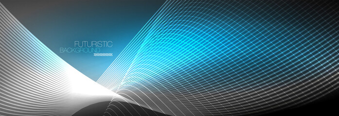 Abstract neon glowing light in the dark with waves. Shiny magic energy and motion concept, vector abstract wallpaper background - fototapety na wymiar