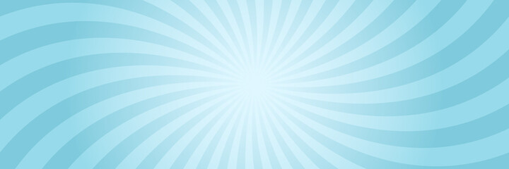 Vector background in comic book style with swirl sunburst and gradient. Retro pop art design. Long horizontal banner.