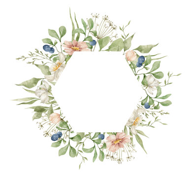 Watercolor hexagon frame with elegant summer flowers, herbs, blueberries and leaves. Wildflower rustic bouquet. Frame for wedding invitation, cards, covers