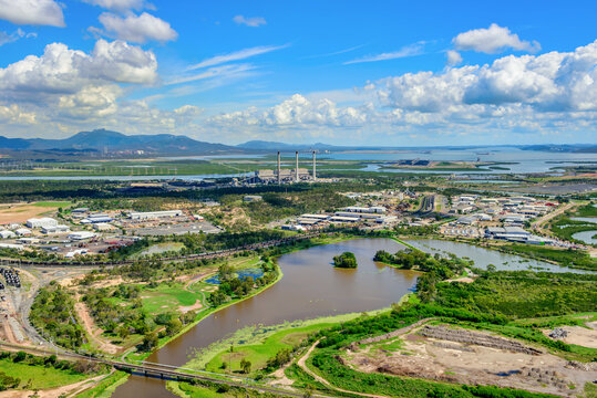 View of East Gladstone, creeks and power station, Queensland