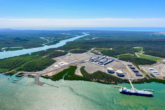 Liquified natural gas plant and LNG ship on Curtis Island, Queensland
