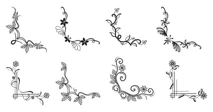 Vintage retro decorative floral corners. Thin line art style borders