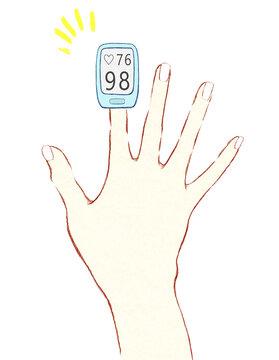 パルスオキシメータを装着して測定する手指