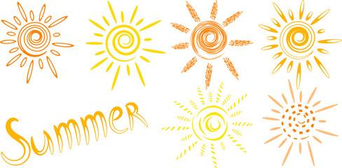 Vector drawn sun icons and word summer - fototapety na wymiar