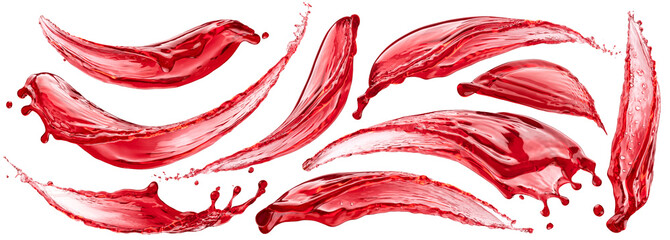 Berry juice splashes, berry compote splash isolated on white background