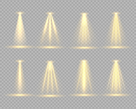 The yellow spotlight shines on the stage. Shine vertical theater projector beam template for your creative design. Light exclusive use lens flash light effect. Scene. Vector illustration, eps 10.