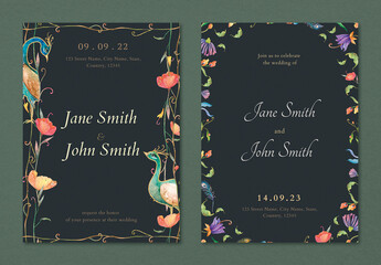 Fototapeta Invitation Card Templates with Peacocks and Flowers Watercolor Design obraz