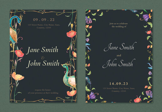 Invitation Card Templates with Peacocks and Flowers Watercolor Design