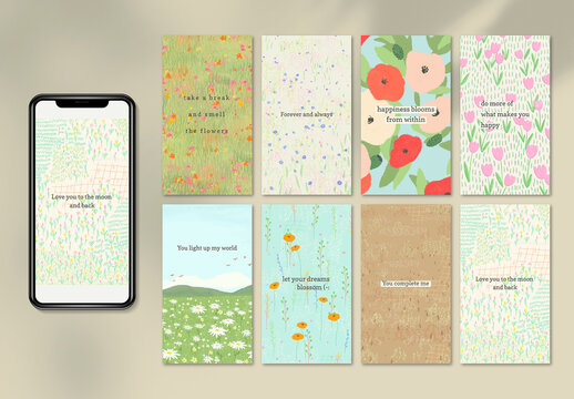 Inspirational Quote Template Set with Floral Design