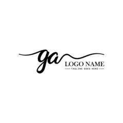 Fototapeta Initial Handwriting Logo Design Template Letter GA obraz