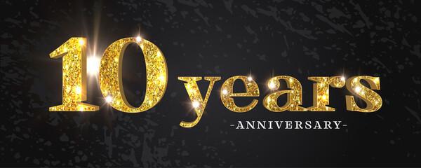 Obraz 10 years anniversary vector icon, symbol, logo. Graphic background - fototapety do salonu