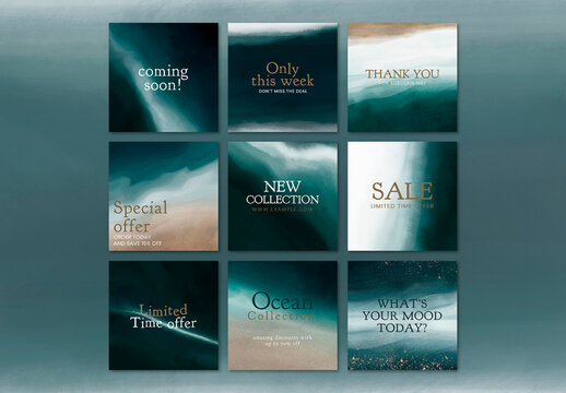 Sale Promotion Social Media Template with Aesthetic Ocean Design