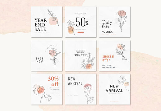 Sale Templates with Minimal Style for Social Media