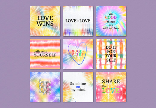 Inspirational Quote Template for Social Media with Colorful Tie Dye