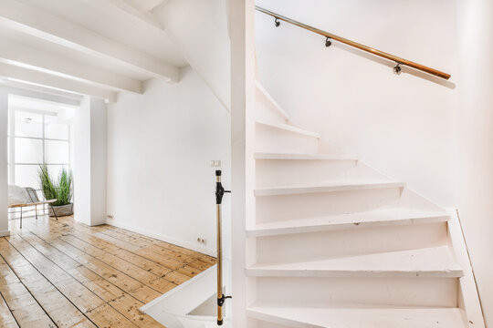 Luxury staircase hall of special design in an elegant house