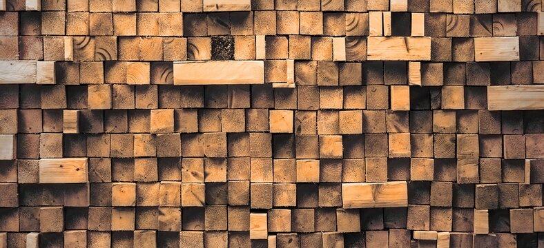 Rustic Wooden Wall From Wood Blocks Panoramic Background Texture. Pine Wood Wide Panel for Design. Seamless Texture of Wooden Blocks in Collage Background. Wooden Blocks Wall. Mosaic Wooden Wallpaper.