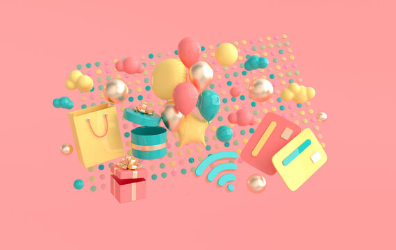 Shopping bag, present box, credit card, balloons, wifi symbol, clouds. Online shopping and delivery concept 3d render