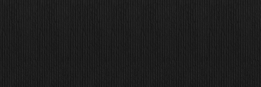 Panorama of Black modern cement wall with lines  pattern and background seamless