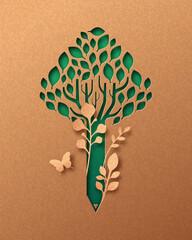 Obraz Green pencil tree paper cut education concept - fototapety do salonu