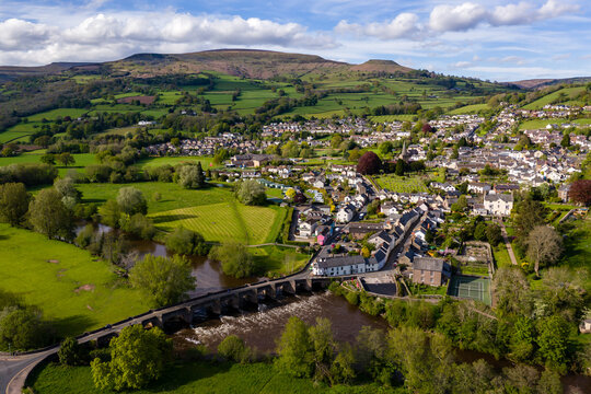 Aerial drone view of the Welsh town of Crickhowell